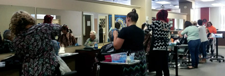 Genesis cosmetology students working in our onsite salon