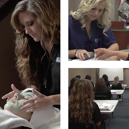 Grid of images from Genesis Career College: Esthetician giving facial, Nail Technician giving manicure, and students in classroom.