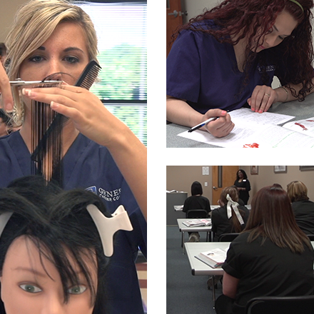 Photo grid of students learning to cut hair at Genesis Career College's cosmetology program