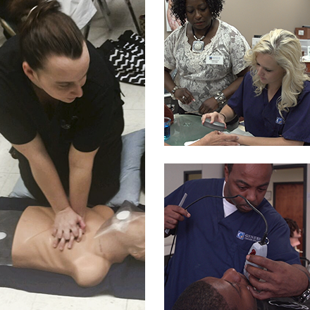 Collage of photos from medical, nail technician, and barber programs at Genesis Career College
