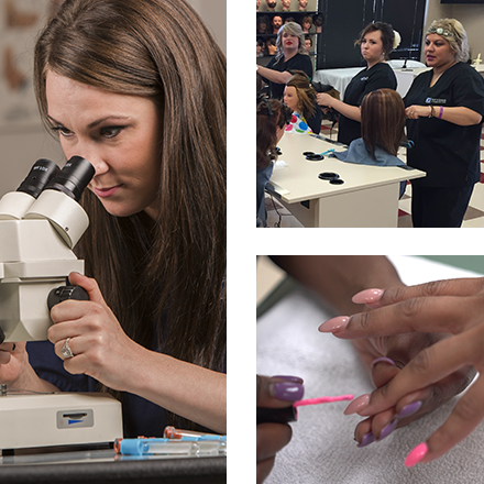 Collage of photos from medical programs, cosmetology program, and nail technician program at Genesis Career College