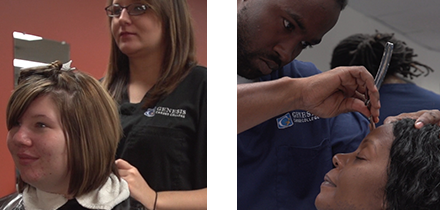Collage of hairdressers in training