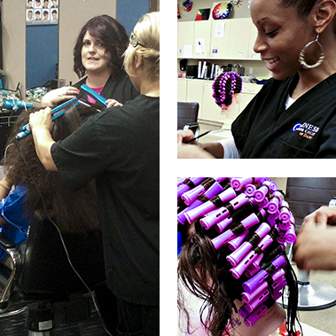 Cosmetology student practicing giving a perm at Genesis Career College