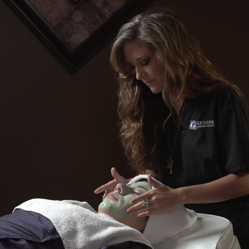 Esthetician student giving facial at Genesis Career College in Lebanon Tennessee