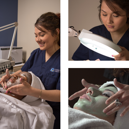 Three images of an esthetician giving a facial at Genesis Career College