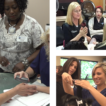 Photos from the Genesis Career College cosmetology instructor training program