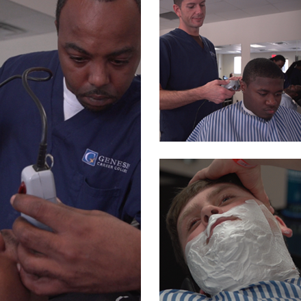 Grid of images from master barber program at Genesis Career College