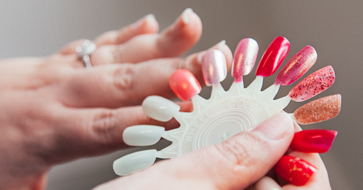 Woman's hand with nail color wheel